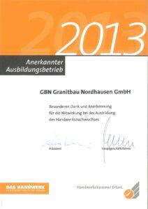 Granitbau-Ausbildungsbetrieb 2013
